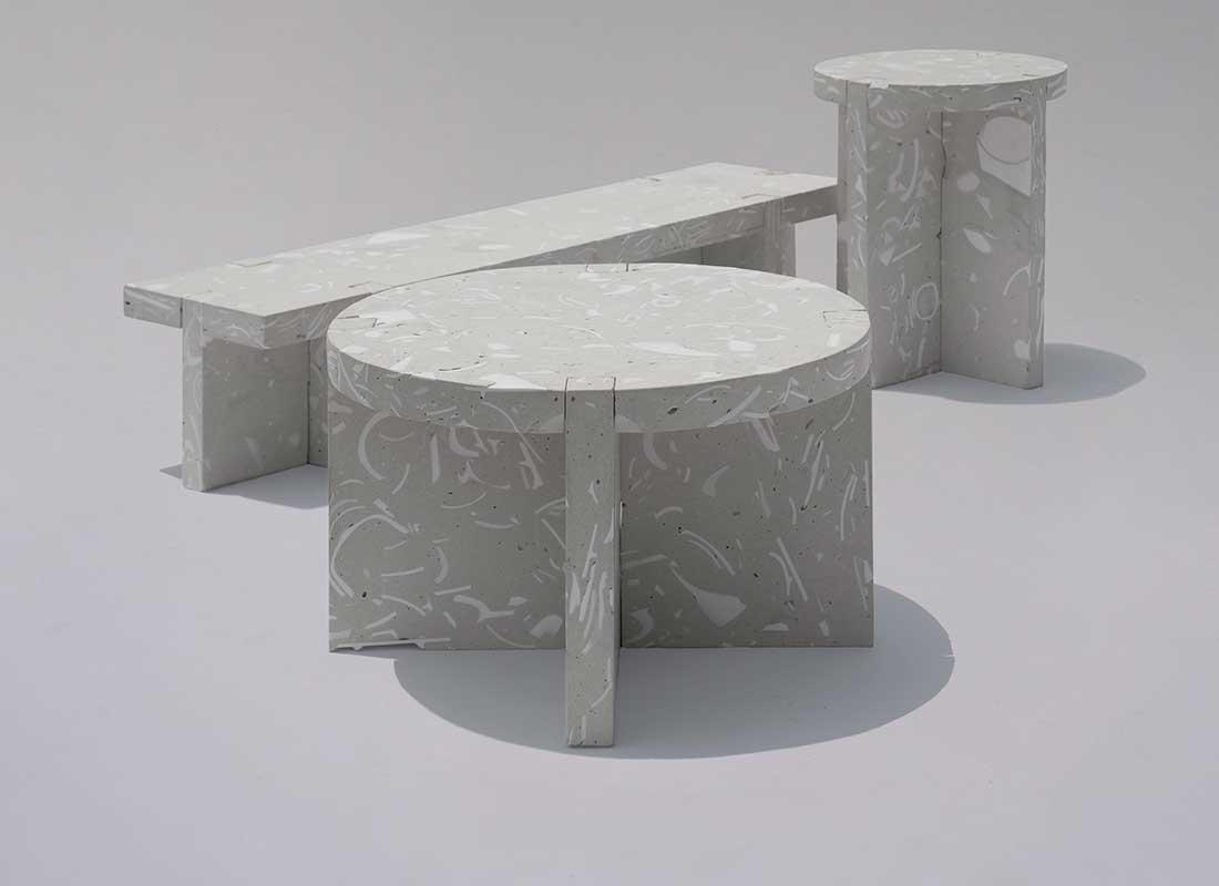 Möbler i återvunnet kakel