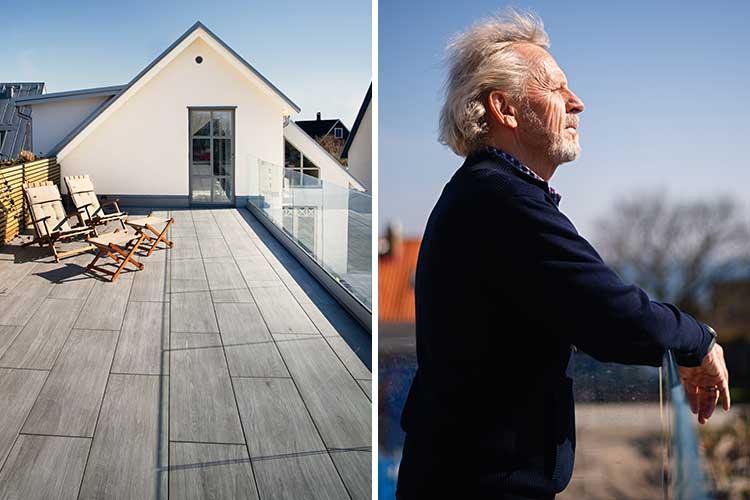 Arkitekten Pierre Dupont i sin bostad på Lerberget i Höganäs med uteplatser i keramik.