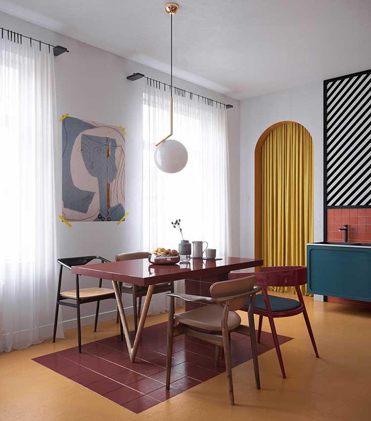 färgstark keramik under stolar och bord